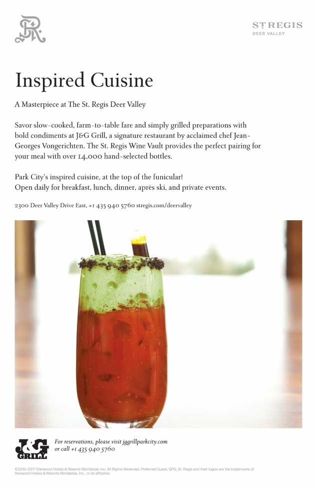 St. Regis Deer Valley 'Inspired Cuisine' Ad